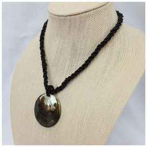 """Shell Pendant on Glass Seed Beads, 20"""" Necklace"""